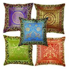 5 Pcs Lot Ethnic Cushion Pillow Cover Brocade Sofa Throw Indian Floor Home Decor