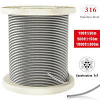 T316 Stainless Steel Cable 1/8Inch 7x7 Steel Wire Rope Cable 100/500/1000ft