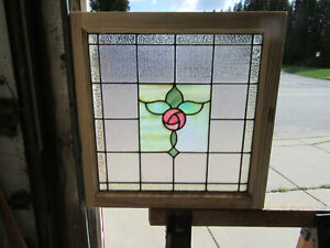 ~ ANTIQUE STAINED GLASS WINDOW ROSE ~ 26.25 X 26.25 ~  ARCHITECTURAL SALVAGE