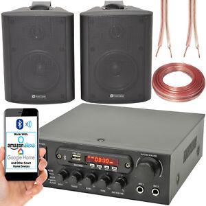 2x Black Bluetooth Wall Speaker System–110W Bar Restaurant Wireless Amp HiFi Kit