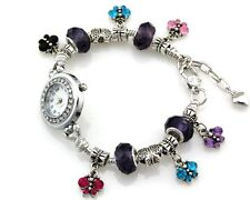 Butterfly Charms Watch Bracelet Inlay Crystal For European Bead 20cm WP021