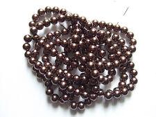 25pz  perline in vetro  cerato 10mm colore marrone scuro