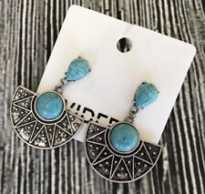 H&M Earrings Statement Turquoise Color New with Tags