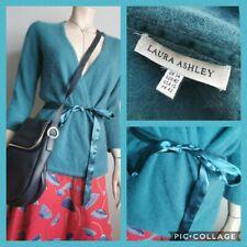 LAURA ASHLEY UK 14 ANGORA Blend Turquoise Ballet Wrap Style Wrap Cardigan
