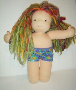 "Bamboletta Waldorf Classic Doll Spring/Summer 2012 Cloth 15"" Green/Pink Hair WOW"