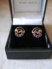 PAIR OF 9 CARAT GOLD FANCY AMETHYST STUD EARRINGS MADE IN UK BRAND NEW IN BOX