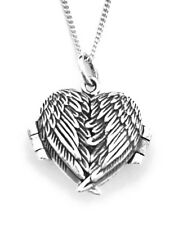 "925 Sterling Silver Heart Photo Locket  Angel Wings Pendant on 18"" Curb Chain"