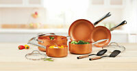 Nonstick Pan Set 10 Piece Oil Free Copper Chef Cookware Spatula Sauce Fry Pans