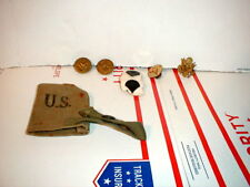 Lot of 6 military pins and one military pouch from 1944