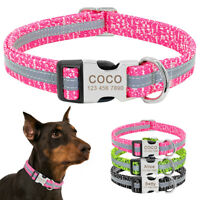 Personalized Reflective Webbing Dog Collars Custom Pet Name Plate ID Tag S M L