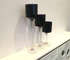 Set Of 3 Black Elegant Light Glass Candle Wedding Table Centrepiece