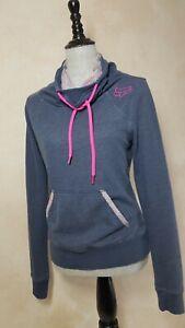 Fox Racing Gray Pullover Hoodie Cowl Neck w/ Pink Logo Women's M Fox Riders Co