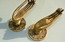 "2 finger Pull handle cast brass door antique old style HAND knob hook 5"" B"