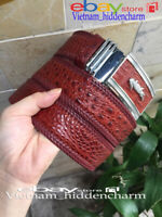 4cm - Men's Belt - Genuine Crocodile  Skin Leather - BORDER KNIT Handmade