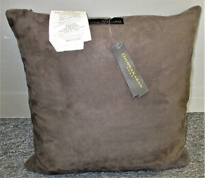"""Donna Karan Moonscape Lacquer Printed Leather 16"""" x 16"""" Deco Pillow Charcoal"""