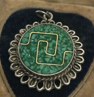 Vintage Sterling Silver Necklace 925 Pendant Green Stone Mexico Taxco