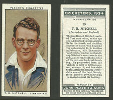 PLAYER'S 1934 CRICKETERS T.B.MITCHELL Card No 19 of 50 CRICKET CIGARETTE CARD