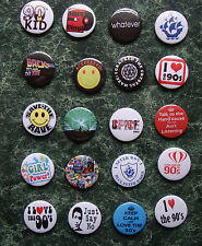"The 90s 20 X 1"" Button Badges Set 2 Fancy Dress Retro Vintage Nineties Peter"