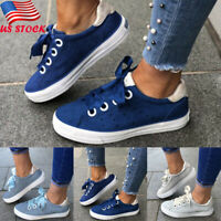 Women Comfort Lace Up Walking Sneakers Sport Running Casual Round Toe Flat Shoes