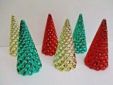 """Set of 6 Retro Elegant Metallic Christmas Trees ~ diamond design ~ 4"""" Gold Green"""