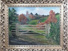 Vintage original oil on board painting