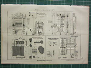 1877 DATED ARCHITECTURAL PRINT ~ DESIGN FOR ORGAN CASE EXTERNAL SHUTTERS PLANS