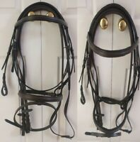 Wymo - Leather Snaffle Cavesson Horse Riding Bridle with RUBBER Reins