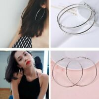 Fashion Women Silver Stainless Steel Big Circle Smooth Large Ring Hoop Earrings