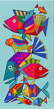 PAINTING RETRO EAMES MID CENTURY MODERN ATOMIC SCHOOL OF GEPMETRIC TROPICAL FISH