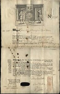 1736 Rare Early SUN FIRE OFFICE Insurance policy, Inverness, KINGS CUSTOMS HOUSE