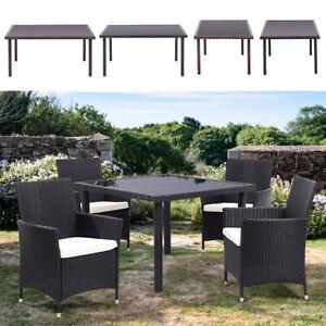 Garden Rattan Glass Top Table Outdoor Patio Rectangular Dining Table Steel Frame