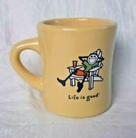 Life is Good Yellow Diner Style Coffee Mug Cup-Adironack Chair-Do What You Like