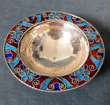 SUPERB QUALITY ARTS & CRAFTS HALL-MARKED SILVER & CLOISONNE ENAMEL DISH
