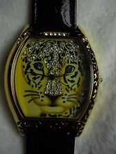 Adrienne Limitd Edition Watch Swarovski® Crystals Jaguar Cat Leopard Lion black