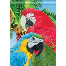 """Tropical Beauties  Colorful Parrots Birds Summer 28"""" x 40"""" Outdoor House Flag"""
