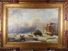 WINTERTIME BEAUTIFUL DUTCH PAINTING - SIGNED AND DATED