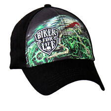 Black Green Embroidered Native Indian Skeleton Cycle Biker For Life Ball Cap