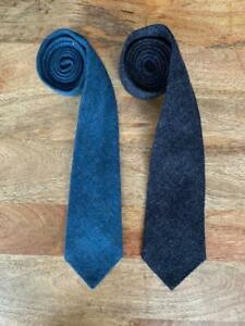 "LOT OF TWO (2) BERETTA italy solid color TWEED TIES 3.75"" 9.5 cm blue gray"