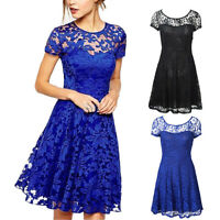 Sexy Women Lady Short Sleeve Lace Evening Formal Cocktail Party Swing Mini Dress