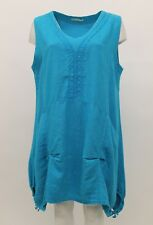 LA BASS WOMEN'S SPRING SUMMER LINEN SLEEVELESS TANK TUNIC TROPICAL PLUS SIZE 2