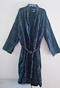 POLO RALPH LAUREN Blue & Green Tartan Plaid Robe w/Pockets Sz L/XL
