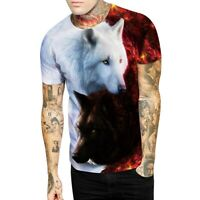 Mens Casual 3D Animal Print Wolf T-Shirts Short Sleeve Tee Shirt Graphic Tops