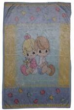 vintage PRECIOUS MOMENTS baby toddler plush pastel boy girl hearts blanket