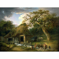 Morland The Old Water Mill Landscape Painting XL Canvas Art Print