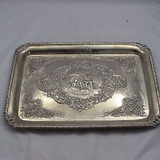 ANTIQUE LATE VICTORIAN SOLID SILVER DECORATIVE DRESSING TABLE TRAY 1899 555 g