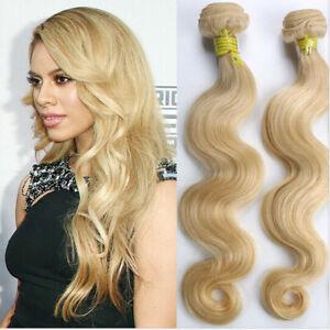 1/3/4 Bundles 100% Peruvian Body Wave Human Hair Extensions Weft #613 Blonde