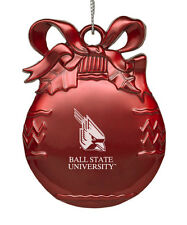 Ball State University  - Pewter Christmas Tree Ornament - Red
