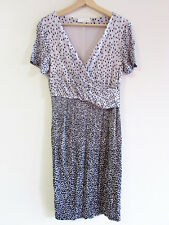 Sportscraft Size 8 Black Grey Spot Print Jersey Short Slv Cross Over Bust Dress
