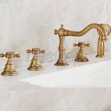Antique Brass Deck Mount Roman Tub Filler Faucet 5-Holes 3 handles Tap stf035