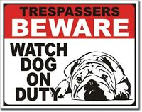 No Trespassing Beware Watch Dog On Duty Funny Humor Wall Decor Metal Tin Sign